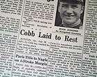 TY COBB DEATH Detroit Tigers MLB Baseball Icon in a 1961 Michigan MI