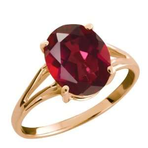 50 Ct Ruby Red Oval Mystic Quartz and 14k Rose Gold Ring Jewelry