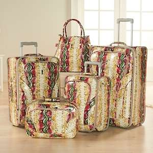Tropical Snakeskin Print 5 piece Luggage Set by Travel Concepts   A