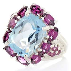 10.36ct Blue Topaz and Rhodolite Sterling Silver Cushion Cut Ring at