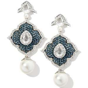 Hollywood Hottie Simulated Pearl and Crystal Drop Earrings