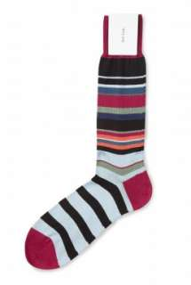 Paul Smith Accessories  Sky Red Ankle Multi Stripe Socks by Paul