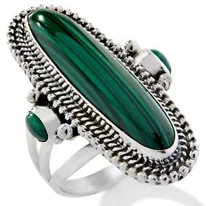 Chaco Canyon Southwest Malachite Sterling Silver Oval Ring