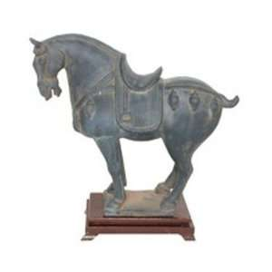 Black Antique Finish Horse With Fancy Saddle Statue   12 1/2H
