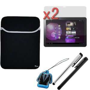 GTMax Black 10 inch Neoprene Sleeve Case + 2 X Clear LCD