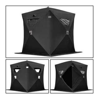 Black Folding Ice Fishing Shelter Tent 1 Person 2 Man Portable Fish