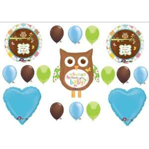 Whoo Loves You Baby Shower BOY Balloons Decorations