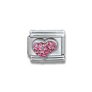 CZ Heart Birthstone Heart Italian Charm Bracelet Link Jewelry
