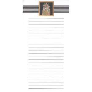 Note Pad Flowers with Black and White Stripe Border