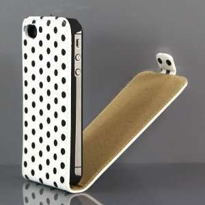 White and Black Polka Dot Pattern PU Leather Flip Case