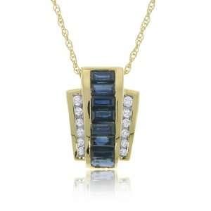 Blue Sapphire & Diamond Pendant 14K Gold Ladies Slide