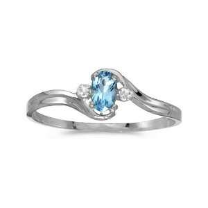 10k White Gold Oval Blue Topaz And Diamond Ring (Size 11) Jewelry
