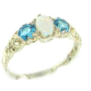 Blue Topaz English Victorian Trilogy Ring   Size 6   Finger Sizes 5 to