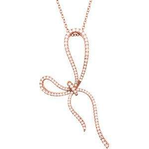 14K Pink Gold 1/2 ct. Diamond Bow Necklace Katarina Jewelry