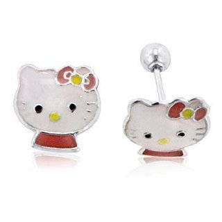 Kitty Sterling Silver Pink Enamel Stud Earrings Jewelry