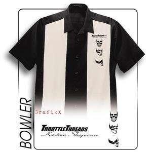 Throttle Threads Bowler Shop Shirt   Large/Black/Tan