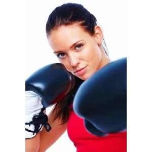 Pretty Young Woman Smiling with Boxing Gloves   Peel and Stick Wall