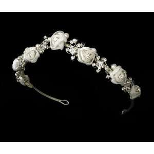 Silver Diamond White Bridal Headband HP 2322 Beauty