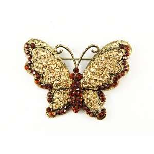 Inspired Queen Topaz Crystal Rhinestone Butterfly Pin Brooch Jewelry