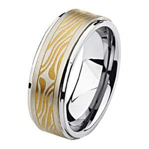 Brushed & Gold Plated Tungsten Carbide COMFORT FIT Wedding Band Ring