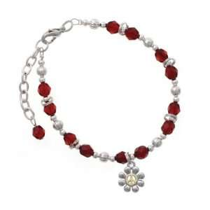 with Gold Peace Sign Maroon Czech Glass Beaded Charm Bracelet Jewelry