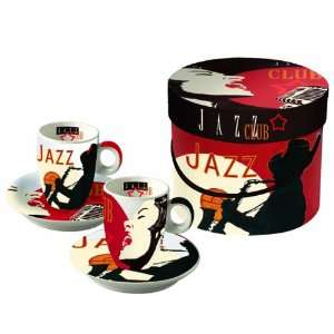 Design Jazz Club Espresso Cup and Saucer, Set of 2