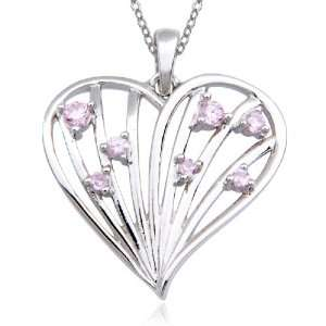 Sterling Silver Pink Cubic Zirconia Pendant, 18 Jewelry