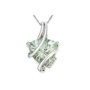 Trillion Cut Green Amethyst and Diamond 10K White Gold Pendant w/Chain