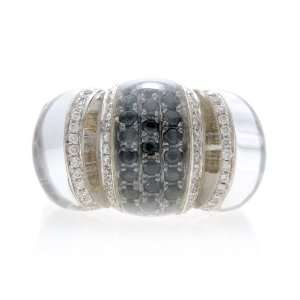 18k WG 1 Ct White Black Diamond Crystal Quartz Ring Jewelry
