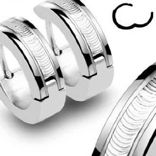 Spikes 316L Stainless Steel Black Hinged Hoop Earrings Jewelry