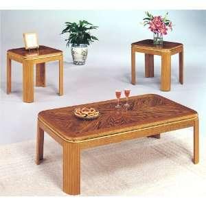 Set of Elliptical Angle Oak Finish Coffee & End Tables