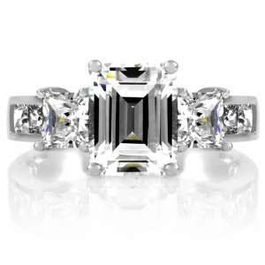 Stone 1.5 Carat CZ Cubic Zirconia Ring   Emerald Cut Jewelry