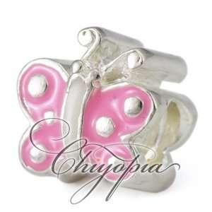 Pink Enamel Butterfly Chiyopia Pandora Chamilia Troll