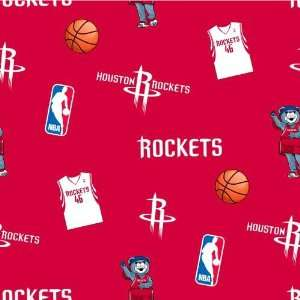 60 Wide NBA Fleece Houston Rockets Tossed Fabric By The