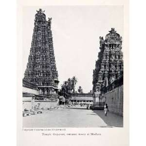 Temple Gopuram Entrance Tower Madura India Religion Cityscape Gateway