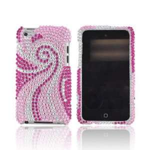 For Apple iPod Touch 4 Magenta Baby Pink Swirls Silver Gems