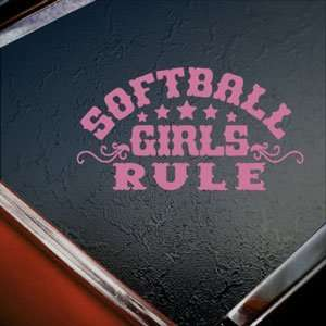 Softball Girls Rule Pink Decal Car Truck Window Pink