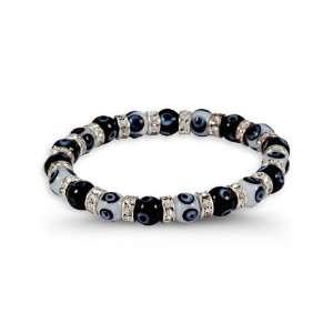 White CZ Band Black White Glass Beads Stretch Bracelet Jewelry