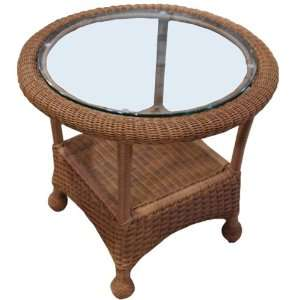 Montclair Round Wicker End Table with Glass Patio, Lawn & Garden