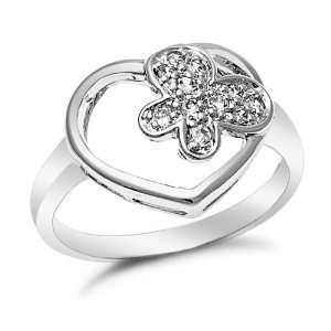 Sterling Silver Open Heart Butterfly CZ Ring, 7 Jewelry