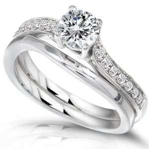 Carat (ctw) Round Cut Diamond Wedding Ring Set 14k White Gold   Size 5