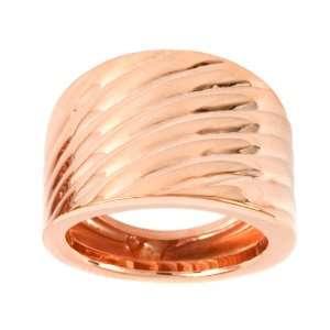 14k Rose Gold High Polished Ribbed Design Ring, Size 5