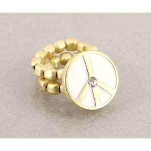 Desinger Inspired Gold Peace Symbol Ring White Color