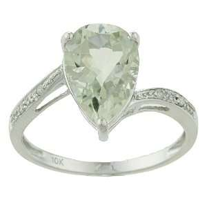 10k White Gold Pear Green Amethyst and Diamond Ring   size