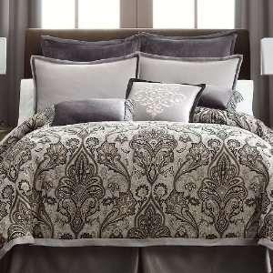 Nautical stripe gray comforter set with 180 tc sheet set for Grey velvet comforter