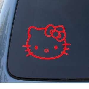 HELLO KITTY FACE   5.5 RED Decal   Cat Feline   Car, Truck, Notebook