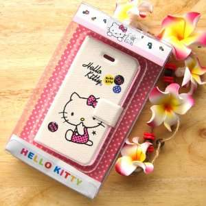 hello kitty sit down flip leather case for iphone 4 4G with retail box
