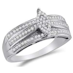 Size 11   10K White Gold Diamond Engagement OR Fashion Right Hand Ring