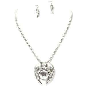 Inspirational Wing Pendant Necklace Set; 18L; Burnished Silver Metal