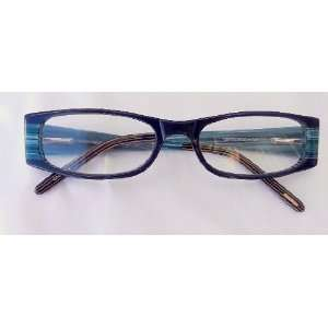 Reading Glasses, Plastic Frame, Black With Teal Design Temples, +1.25